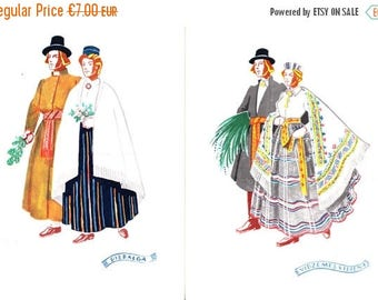 SUMMER SALE -30%off Unused postcard set from 50s - Latvian folk costumes - made in Latvia - artist Girta Vilka - Latvian Costumes - Piebalga