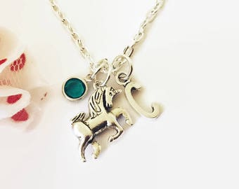 Unicorn Necklace Silver Unicorn Initial Necklace Unicorn Pendant Unicorn Jewellery Unicorn Gift Girls Jewellery Birthday Gift for Girl