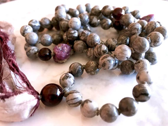 Ruby Mala Beads, Scenery Jasper, Garnet , January Mala Tassel Necklace , Chakra Healing Mala, Yoga Mantra Beads, 108 Tassel Necklace