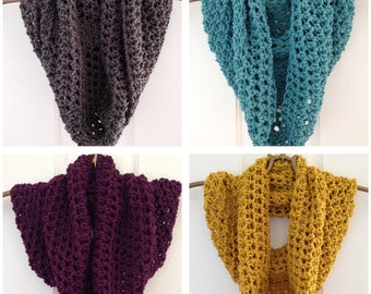 Crochet Infinity Scarf in a selection of colours