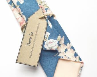 Floral tie, bright blue skinny tie, rose print floral tie, mens skinny tie, wedding tie, men's floral tie