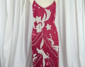 Vintage Silk Beaded 80's Does 20's Sequin Island Dress