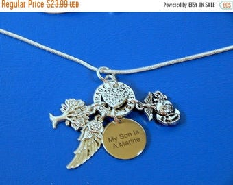 "SALE My Son Is A Marine Necklace, Rose Angel Wing Heart  ""COURAGE "" Charm  Necklace"