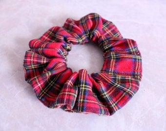Christmas Plaid Hair Scrunchie 100% Cotton