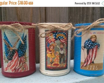 Americana Primitive Tin Can Vase Shabby Chic Rustic Farmhouse Patriotic Flag Labor Memorial Day 4th of July 4 Red White Blue SUMMER OUTDOORS