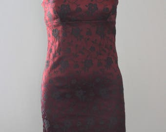 90s Burgundy and Floral Spagetti Strap Dress