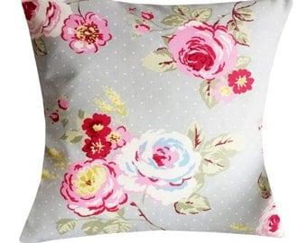 """Designer 16"""" floral pink vintage shabby grey egg dot chic rose cushion cover"""