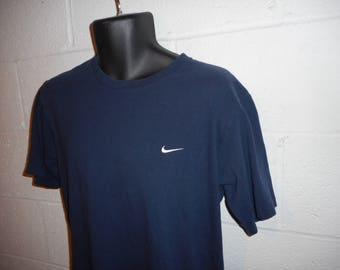 Vintage 90s Navy Blue Nike Swoosh T-Shirt Small