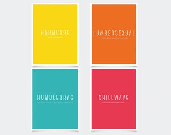 Leaving Home Gift, A5 Poster Prints | Colourful Dorm Room Decor, Going To University Present, Set of 4 A5 Typography Wall Art