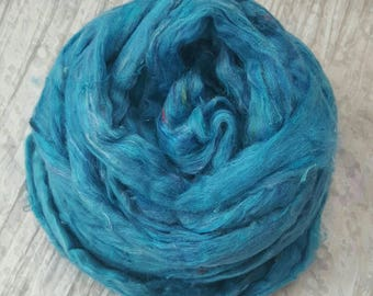 Light Blue Blend with multicolour Recycled Sari Silk Fibre 'Sky' 50 grams Soft, Luxurious Carded Silk Sliver/Roving; for Spinning, Felting
