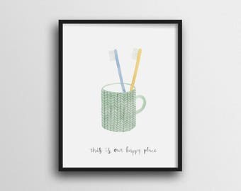 Minimalist Couple Toothbrushes Wall Art Print Home Decor 11x14 8x10