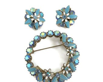 ON SALE! Weiss Brooch Earrings Set Vintage Blue AB Rhinestone Demi Parure Estate Designer Signed Costume Jewelry Gift Idea