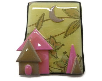 Pink House Brooch, Vintage Lucinda Yates Pin, House Pin, Laminated House Brooch, New Home Gift, Bridal Gift