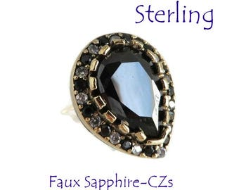 Sterling Silver - Sapphire Teardrop Ring, Vintage Faux Sapphire and CZ Sterling Silver Ring, Size 7, Gift for Her, FREE SHIPPING