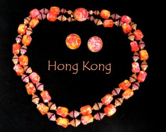 Hong Kong Necklace Earrings Set, Vintage Pink Orange Double Strand Necklace, Button Clip-on Earrings, Demi Parure