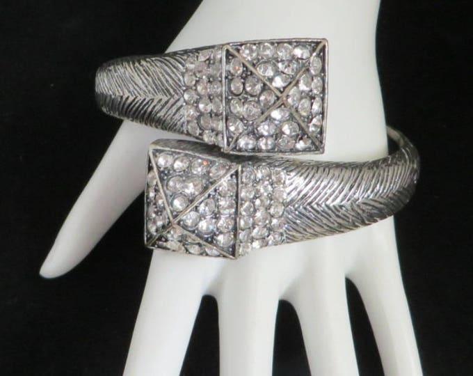 Rhinestone Clamper Bracelet - Vintage Silver Tone Wrap Bracelet, Party Jewelry, Gift idea