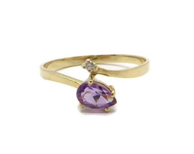 Vintage 14K Gold Amethyst Ring, Diamond Accent Ring, Engagement Ring, February Birthstone, Size 6