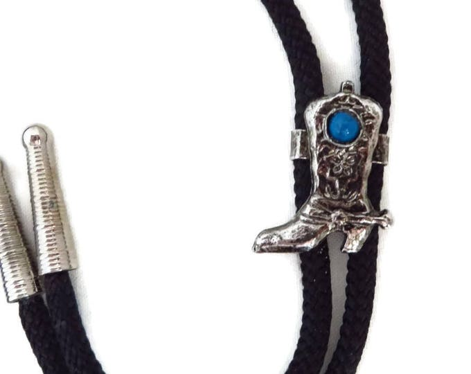 Cowboy Black Bolo Tie, Vintage Silver Tone Cowboy Boot Pendant, Gift for Him, FREE SHIPPING