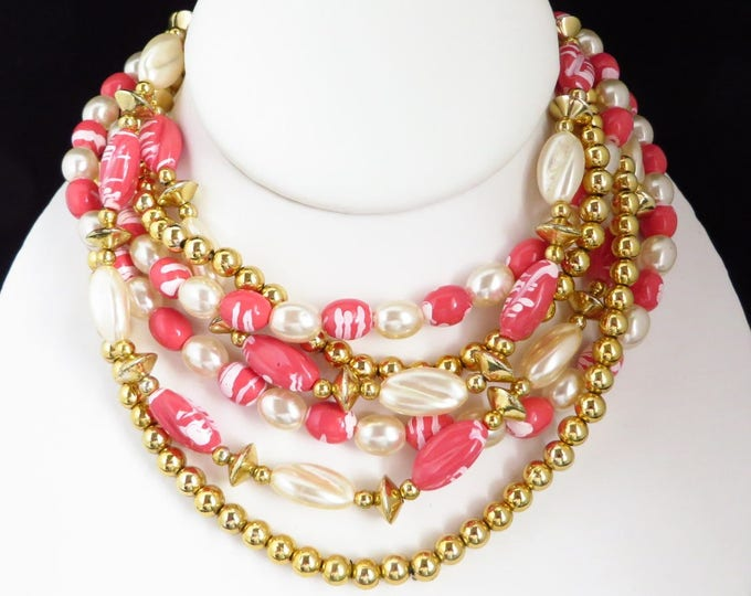 Beaded Faux Pearl Multistrand Necklace, Vintage Pink, White, Gold Tone Beaded Necklace, FREE SHIPPING