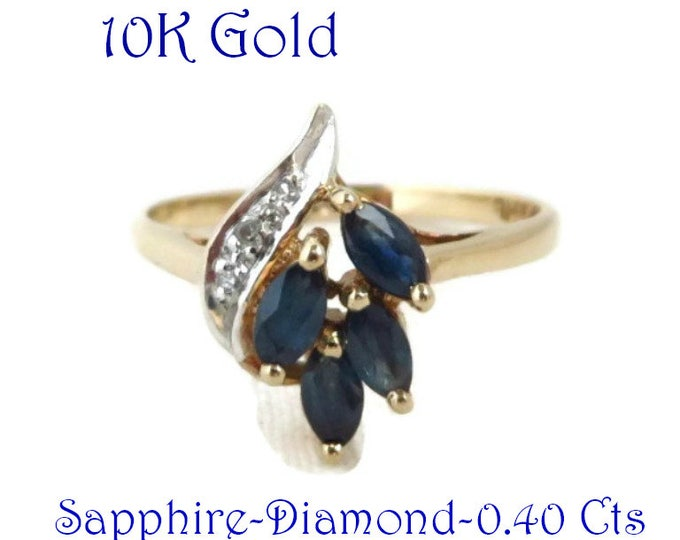 Sapphire Cocktail Ring - Vintage Sapphire & Diamond, 10K Gold Ring, Anniversary Ring, Size 6, Perfect Gift for Her, Gift Box