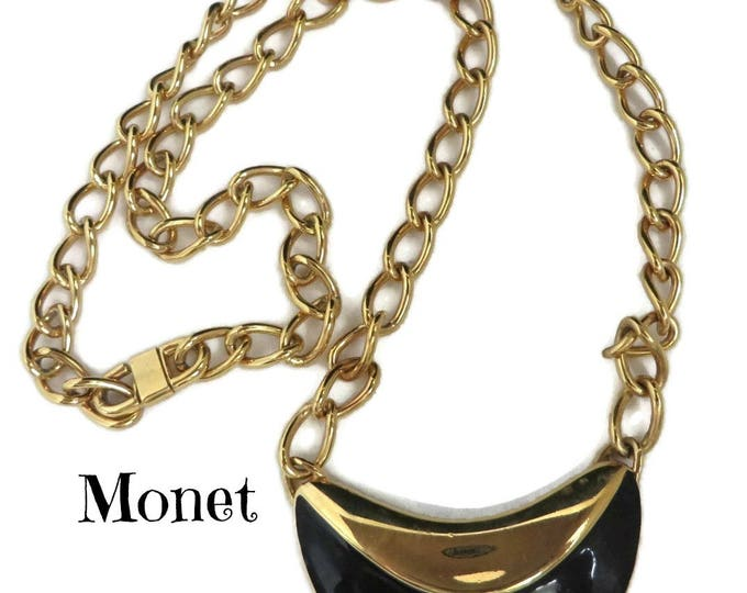 Monet Chain Necklace, Vintage Pendant Necklace, Black and Goldtone Necklace, Signed Monet Jewelry