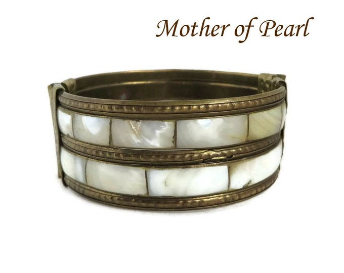 Vintage MOP Bangle, Brass Tone, Mother of Pearl Inlay Bracelet, Boho Bangle Hippie Jewelry, Valentine's Day Gift