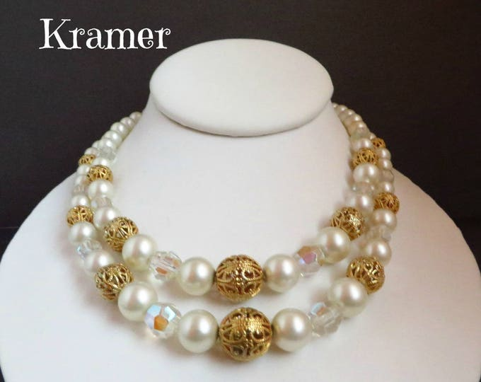 Kramer Necklace, Vintage Faux Pearl & Filigree Beaded Double Strand Necklace, Valentine's Day Gift