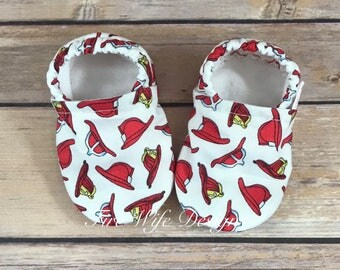 Fire Helmet Firefighter Soft Sole Baby Shoes, Crib Shoes, Baby Slippers, Baby Booties, Baby Mocs, Vegan Baby Shoes