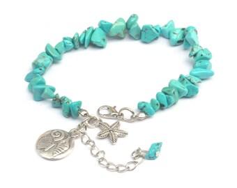 turquoise beach bracelet, aqua beaded bracelet, sand dollar bracelet, beach bracelet, turquoise bracelet, sand dollar beaded bracelet, beach