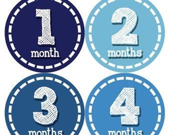 Baby Month Stickers, Baby Boy Gift, Milestone Stickers, Monthly Sticker, Monthly Baby Boy Stickers, Baby Bodysuit, Baby Shower Gift 081