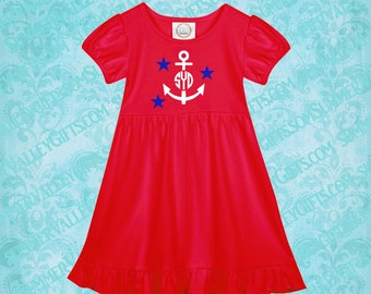 4th of July / Red Dress / Fourth of July / Monogram / Initials / Personalized 4th of July Dress / Personalized Anchor Monogram / Anchor