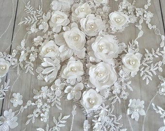 3D Bridal Lace fabric, Beaded Lace fabric, 3D Rose Lace, Rosette Bridal lace, Off White Floral Wedding Lace by the yard