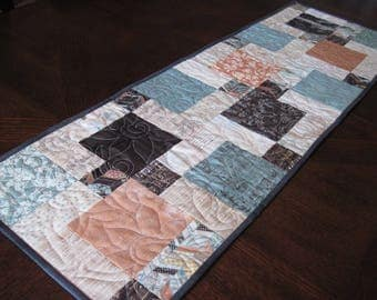 Brown, Teal, and Orange Quilted Table Runner - music table runner, elegant table runner