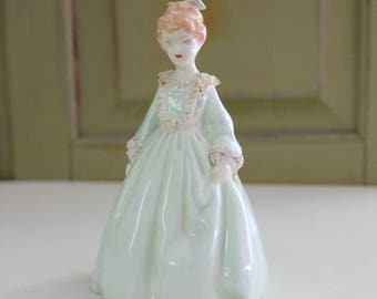 Vintage Lady Figurine Celadon Green Dress Bow Girl Figure Vanity Decor Hand Painted Porcelain Spaghetti Trim Cottage Home Decor Collectible