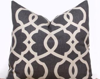 SALE ENDS SOON Gray Lattice Throw Pillow Cover, Gray and Cream Throw Pillows, Contemporary Home Decor, 20 x 20