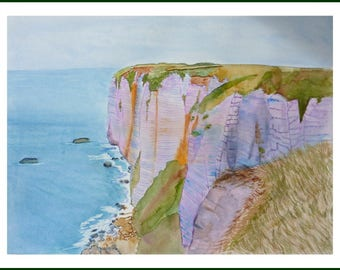 WATERCOLOR - View of the cliffs of Etretat