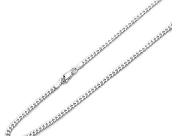 3mm 925 Sterling Silver Italian Solid Curb Link Chain Necklace made in italy(SNCP610080)