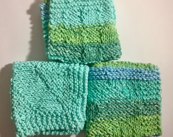 Set of 3 Large Knitted Dish Cloths - Shades of Aqua/Blue/Green