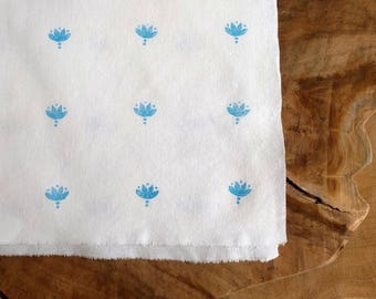 Block Print Fabric, Boho Fabric in Turquoise Blue | Indian lotus hand block printed cotton, hand printed fabric in bright blue and white.