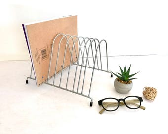 Paper Organizer - Record Rack - Magazine Rack - File Organizer - Mid Century Modern - Atomic -  Metal Silver Chrome Black