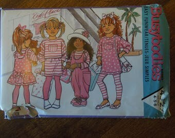 Busybodies 4527, Butterick UNCUT sewing pattern, sizes 4-6, jumpsuit, jumper, top, skirt, leggings