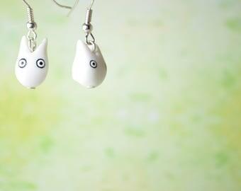 Studio Ghibli Inspired White Totoro, Earrings OR Necklace