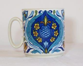 Turquoise blue Izmir 1973 VILLEROY & BOCH mug - French 70s vintage