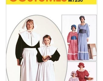 7230, McCalls,  Women's, Pilgrim, Colonial, Puritan, Little House on the Prairie, Peasant Early American Historical Pattern dress and bonnet