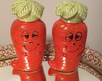 Vintage Anthropomorphic Carrot Salt and Pepper Shakers Japan