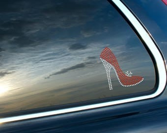 Stiletto High Heel Shoe Rhinestone Car Decal Bling Red