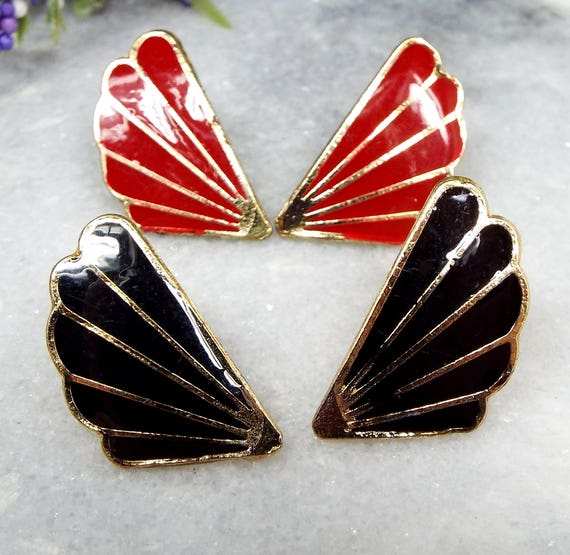 Vintage / Set of 2 Gold Black and Red Enamel Art Deco Gatsby Fan Stud Earrings
