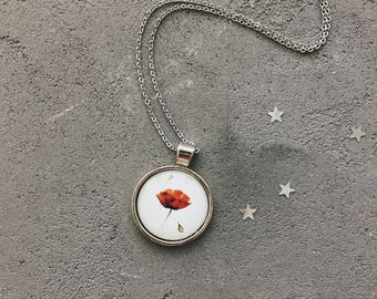 Red poppy floral necklace, red and white pendant by CuteBirdie