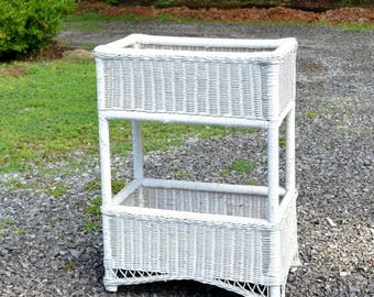 Vintage White Wicker Plant Stand 2 Tier Plants Container Ferns Painted Porch Furniture PanchosPorch