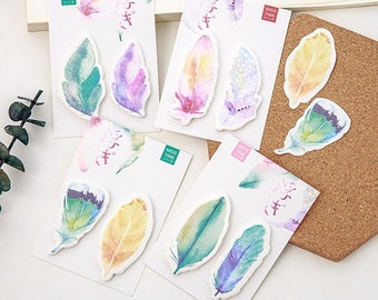 Watercolor Feather Post It Sticky Notes/Memo Pad/Post It Notes/Journal/School Office Supplies/Note Pads/Bohemian